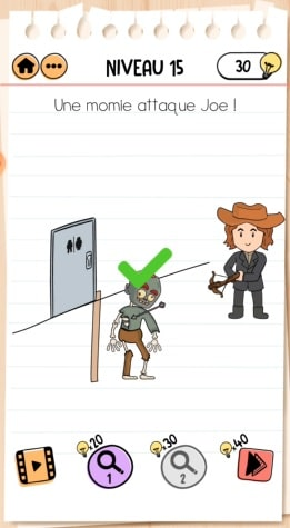 solution Brain Test 2 Joe le chasseur de monstres NIVEAU 15