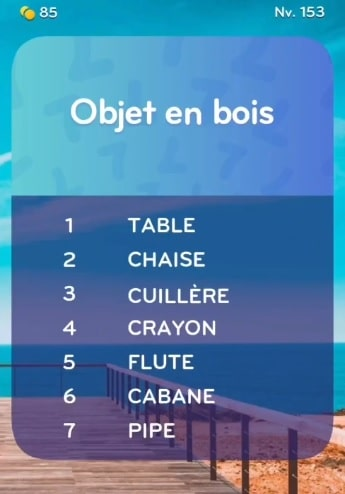 solution top 7 niveau 153