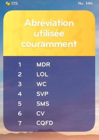 solution top 7 niveau 146