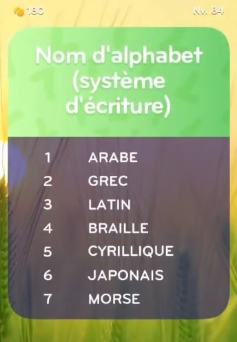 solution top 7 niveau 84
