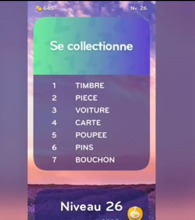 solution top 7 niveau 26