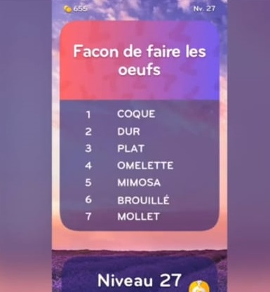 solution top 7 niveau 27
