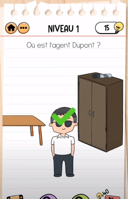 solution Brain Test 2 agent dupont NIVEAU 1