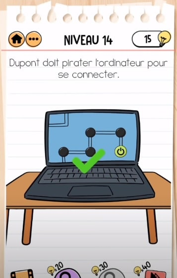 solution Brain Test 2 agent dupont NIVEAU 14