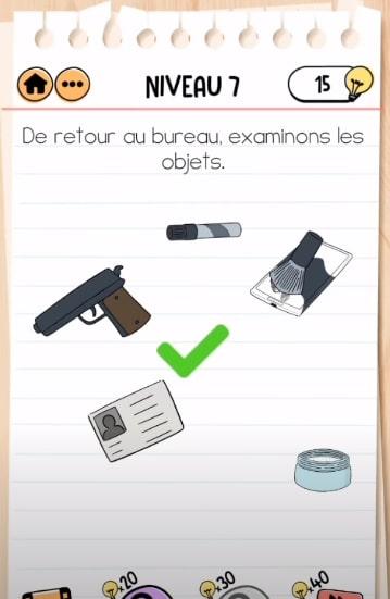 solution Brain Test 2 agent dupont NIVEAU 7