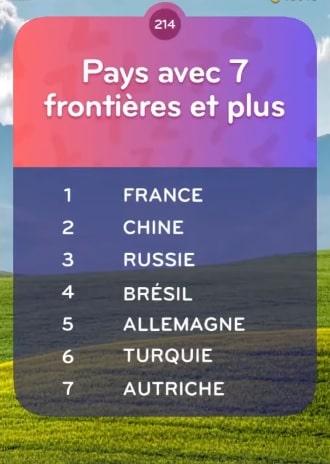 solution top 7 Niveau 214 - Pays avec 7 Frontières et Plus