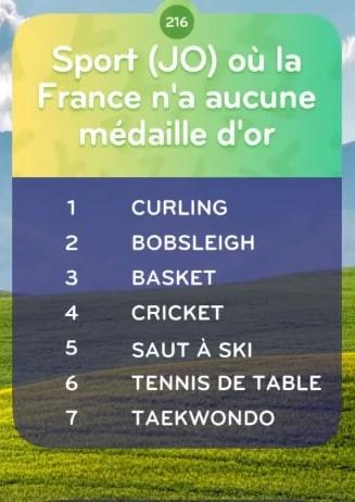 solution top 7 Niveau 216 - Sport (JO) où la France n'a aucune médaille d'or