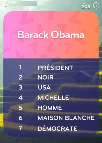 top 7 niveau 205 Barack Obama ?