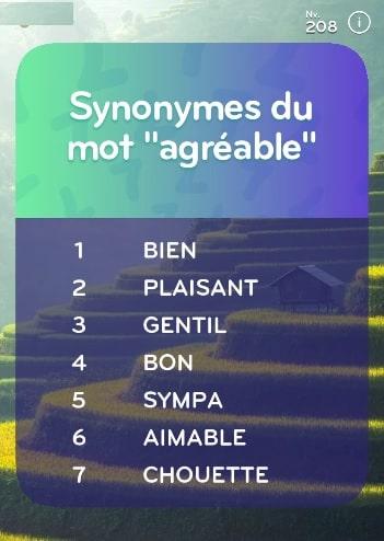 top 7 niveau 208 Synonyme du mot AGRÉABLE ?