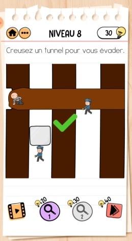 solution Brain Test 2 comment s'évader NIVEAU 8