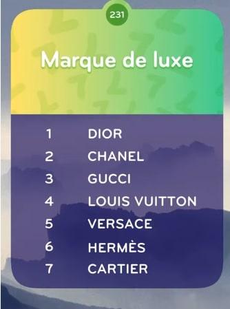 Marque de Luxe TOP 7 Niveau 231